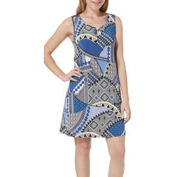 Espresso Womens Mixed Print Sleeveless Dress