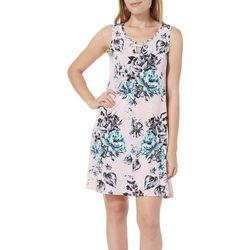 Espresso Womens Floral Print Keyhole Dress