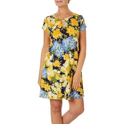 Espresso Womens Classical Floral Puff Print Keyhole Dress