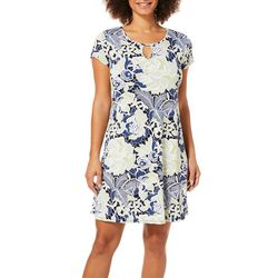 Espresso Womens Floral Puff Print Keyhole Dress