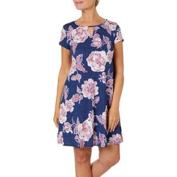 Espresso Womens Chambray Floral Puff Print Keyhole Dress