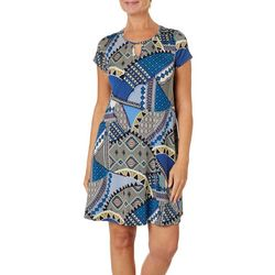 Espresso Womens Patchwork Puff Print Keyhole Dress