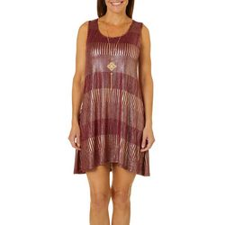 Espresso Womens Necklace & Metallic Foil Sleeveless Dress