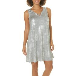 Espresso Womens Crisscross Metallic Foil Dress