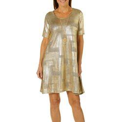 Espresso Womens Necklace & Metallic Foil Shift Dress