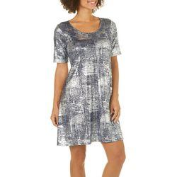 Espresso Womens Geometric Metallic Foil Dress