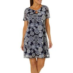 Espresso Womens Medallion Mesh Puff Print Dress