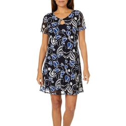 Espresso Womens Abstract Floral Puff Print Dress