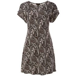 Espresso Womens Paisley Puff Print Grommet Dress