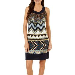 Enfocus Womens Mixed Chevron Print Dress