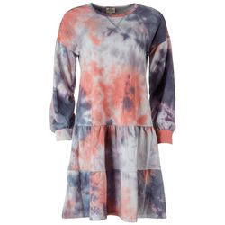 Ava James Womens Tie-Dye Tiered Long Sleeve Dress