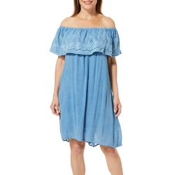 Studio West Womens Chambray Eyelet Off The Shoulder Dress