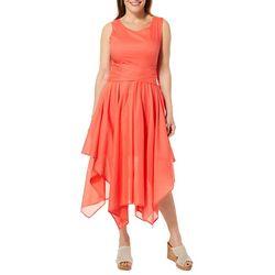 Studio West Womens Solid Tie Back Handkerchief Hem Dress