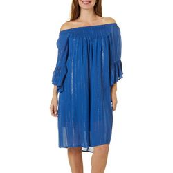 Studio West Womens Lurex Striped Off The Shoulder Dress