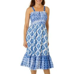 Studio West Womens Smocked Tie Dye Dress