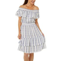 Studio West Womens Stripe Off The Shoulder Dress