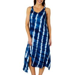 Womens Tie Dye Embroidered V-Neck Dress
