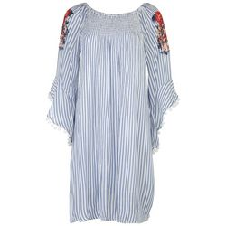 Studio West Womens Embroidery Sleeve Boho Dress