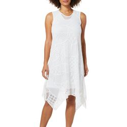 Alkamy Womens Solid Lace Overlay Dress