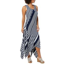 Alkamy Womens Mixed Stripe Print Handkerchief Hem Dress