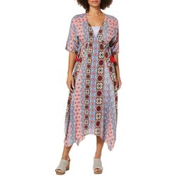 Alkamy Womens Medallion Print Lace Panel Dress