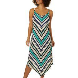 Alkamy Womens Chevron Stripe Asymmetrical Swing Dress