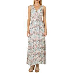 Alkamy Womens Abstract Floral Empire Waist Maxi Dress