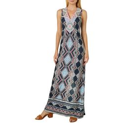 Alkamy Womens Geometric Print V-Neck Maxi Dress