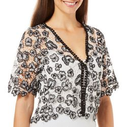 Rabbit Rabbit Womens Floral Crochet Button Shrug