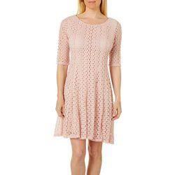 Rabbit Rabbit Womens Crochet Lace Round Neck Dress