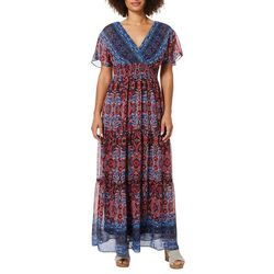 Rabbit Rabbit Womens Smocked Floral Print Maxi Dress