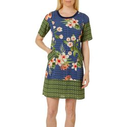 Rabbit Rabbit Womens Tropical Hibiscus Short Sleeve Dress