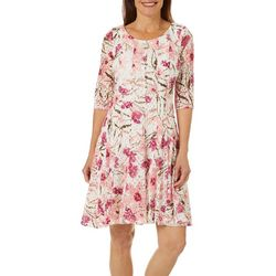 Womens Floral Lace Fit & Flare Dress