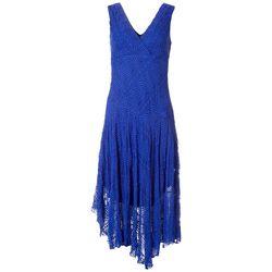 Rabbit Rabbit Womens Sleeveless Surplice Solid Lace Dress