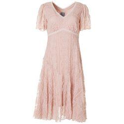 Womens Short Sleeve V-Neck Lace Dress