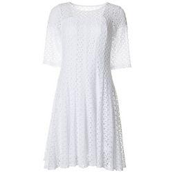 Womens Elbow Sleeve Solid Crochet Dress