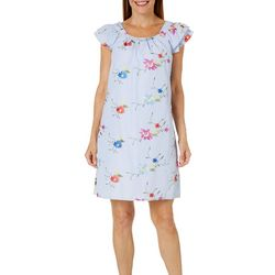 Rabbit Rabbit Womens Embroidered Floral Pin Striped Sundress