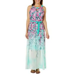 Rabbit Rabbit Womens Belted Blooming Floral Maxi Dress