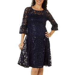 Rabbit Rabbit Womens Sequin Lace Scoop Neck Dress