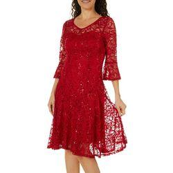 Rabbit Rabbit Womens Bell Sleeve Sequin Lace Dress