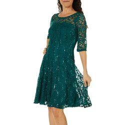 Rabbit Rabbit Womens Elbow Sleeve Sequin Lace Dress