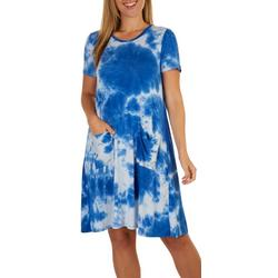 Womens Pocketed Tie-Dye Casual Dress