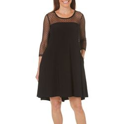 Lennie Womens Dotted Mesh Swing Dress
