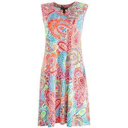 Nina Leonard Womens Paisley Floral Sun Dress