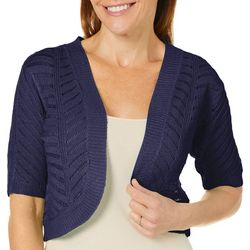 Nina Leonard Womens Open Front Crochet Shrug