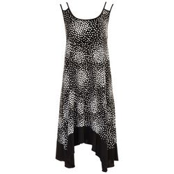 Nina Leonard Womens Asymmetrical Hem Dotted Dress