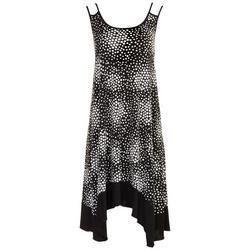 Womens Asymmetrical Hem Dotted Dress