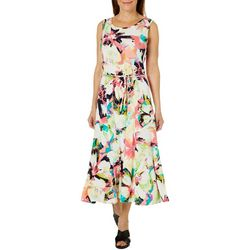 Lennie Womens Floral Print Chain Detail Belted Dress