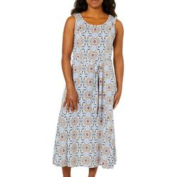 Lennie Womens Belted Tile Print Dress