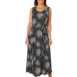 Lennie Womens Belted Geometric Square Puff Print Sundress